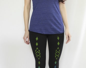 SALE Size SMALL - Womens Yoga LEGGINGS, Hand Painted Boho Leggings, Gifts for Her