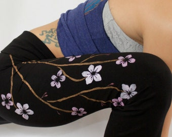 Womens LEGGINGS, Cherry Blossom Flowers, Hand Painted, Gifts for Her