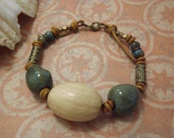 Walnut Wood Leather Bohemian Bracelet