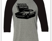 Muscle Car T-shirt-Boss 302 Mustang-Classic Car- Baseball tee in grey and charcoal black