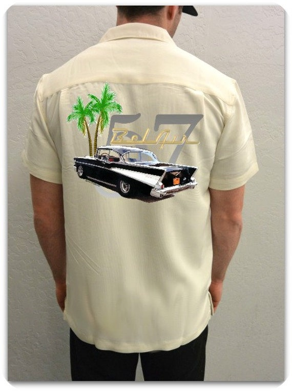 Men's Car Shirt-1955 Chevy Bel Air, Red-Car gift, Classic car shirt, father's day, Hawaiian Car shirt, car gift, custom car, gifts for him