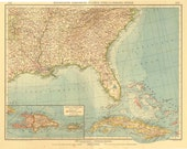 1922 Large Vintage Map of the United States , Cuba, Haiti, Puerto Rico and the Bahamas, Gulf of Mexico