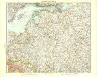 1914  Vintage Map of European Russia and Northern Scandinavia, Baltic Sea,Stieler
