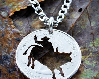 Bull Rider Necklace, hand cut coin