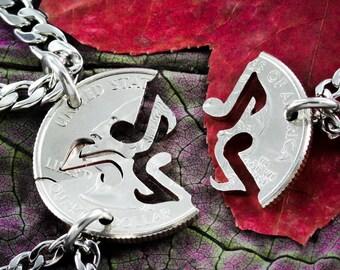 Music Note necklace, 3 piece friendship jewelry, handmade