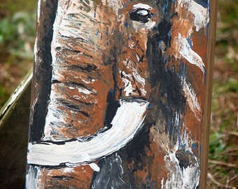 Elephant,elephant in water,painting,modern,art,home decor,india,ganesh,elephant wall art,elephant on wood,wood painting,rustic,distressed