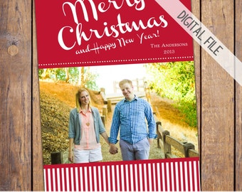 Family Christmas Card, holiday photo card, christmas photo, seasons greetings, red stripes, christmas card (item240)