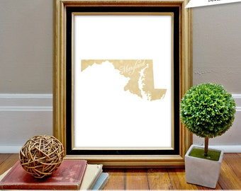 Maryland State Print, MD, State Art, State Map, State Silhouette, Instant download, State art print, state wall art, bokeh