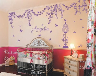 Abstract Flowers with birds-Nursery wall decals name vine wall decal sticker nursery wall mural living room wall decal