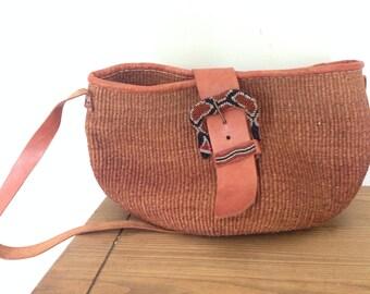 Large Vintage Basket Market Weave Tote Bag