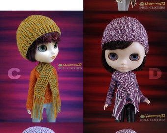 1 Hand knit hat and scarf set for: Blythe, Pullip, Taeyang...