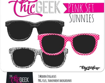 Pink Sunglasses Digital Graphics, INSTANT DOWNLOAD, Pink, black, and zebra print modern sunglasses clipart, commercial use ok