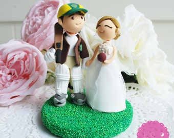 Custom Cake Topper - Cricket Player & his wife