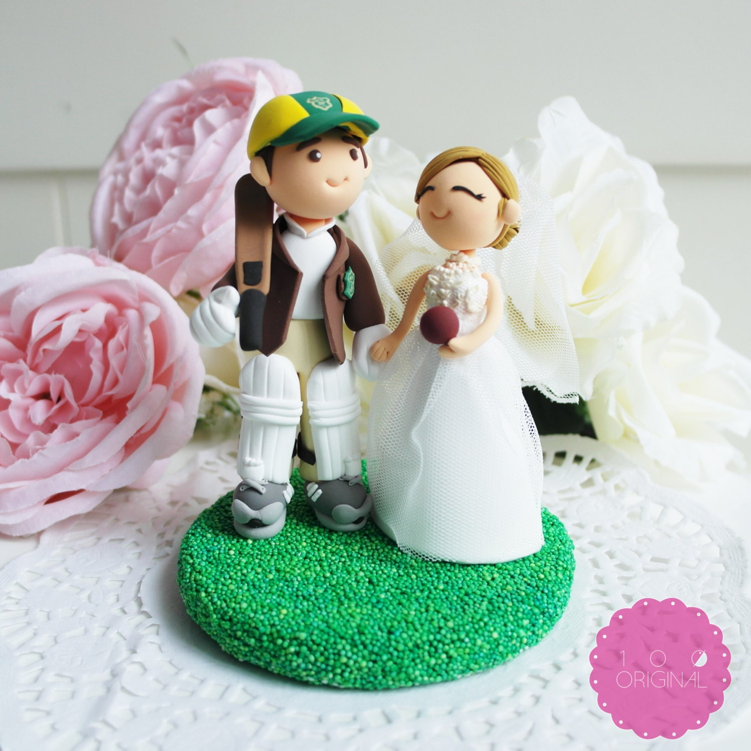 Custom Cake Topper Cricket Player & his wife