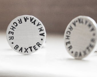 Cufflinks Personalized Custom Sterling Silver Cuff links Gift for Him Groom Father of Bride
