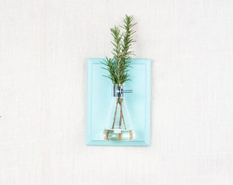 Wall Vase - Blue Hanging Vase, Bud Vase - Gift Wrapped - Wall Sconce Vase - Science Chic, Glass Flask, Aqua, Ocean, Sky