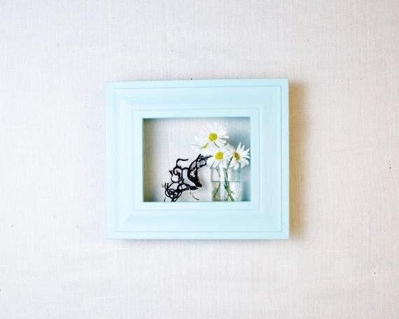 Framed Shadowbox Shelf - Aqua and Ocean Blue - Distressed, Modern Cottage