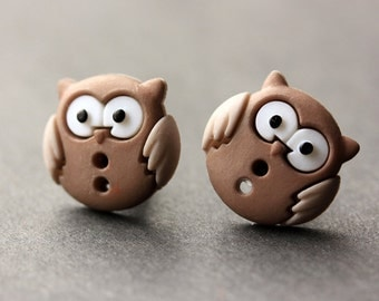 Owl Earrings. Brown and Taupe Owl Button Earrings. Owl Jewelry. Owl Stud Earrings. Bird Earrings. Owl Post Earrings. Handmade Jewelry.