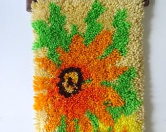 Vintage Floral Latch Hook Yarn Wall Art 1970s