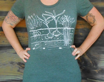 Womens Fitted T Shirt - Veggie Garden - S M L XL - Hand Screen Printed On American Apparel