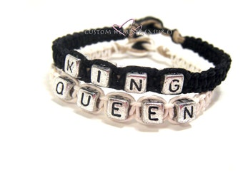 King Queen Bracelets, Husband Gift, Couples Bracelets, Matching Bracelet, Black White Hemp, Gift Idea, Personalized Jewelry, Couples Jewelry