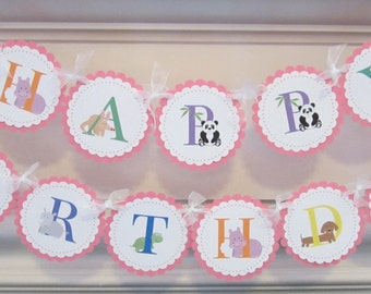 Happy Birthday Banner ABC Alphabet Animals Custom Birthday Sign