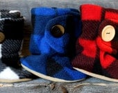 Gift Set of Three Pairs of Lumberjack Booties.  Black and White, Black and Blue, and Black and Red Plaid.