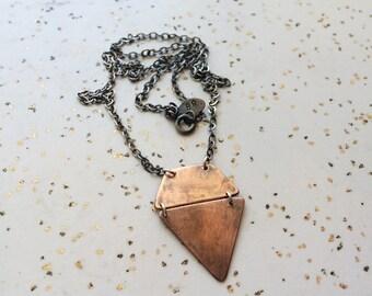 Gem-shaped Copper Necklace, Oxidized Copper, Diamond-Shaped Pendant
