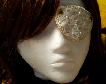 Steampunk Goth Kawaii Eye patch satin and lace.  Fully adjustable eyepatch