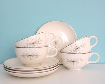 Modern Star China, Atomic China, Modern Star Cups & Saucers, Homer Laughlin China, Mid Century China, Googie China, Elegant Mid Mod Dishes