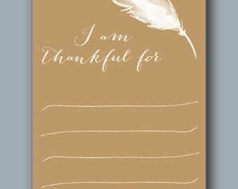 Thanksgiving Printable I Am Thankful For Cards