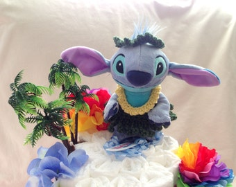 Aloha! Baby Girl 3 tier Diaper cake, a Hawaiian themed Hula cake - an adorable diaper baby shower gift - made to order