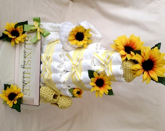 "Baby Boy or Girl 4 tier Diaper cake You Are My Sunshine"" - an adorable baby shower gift - made to order"
