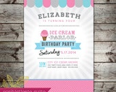 Printable Invitation - Ice Cream Birthday Party 078
