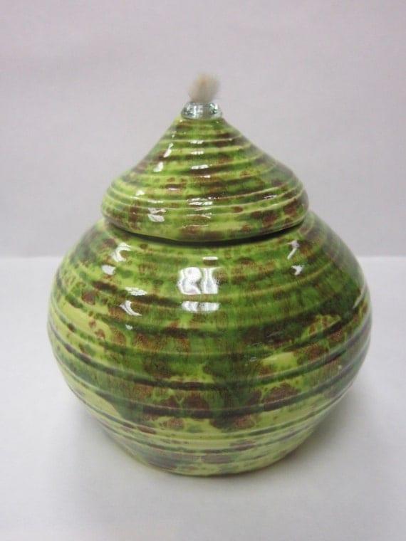Handmade Ceramic Oil Lamps : Handmade ceramic oil lamp pistachio green by urbanoilceramics