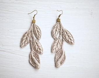 Tan Leaf Lace Earrings