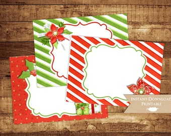 Christmas Holiday Printable Buffet Food Card Labels INSTANT DOWNLOAD Favor Tag Sticker