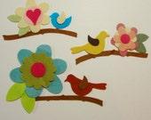 Spring Arrangements- 3 Flower/Bird Wool Felt Blend Applique Scenes
