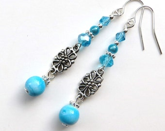 SKY BLUE FLOWERS- Beaded Dangle Earrings with Tibetan Silver Flower Spacers, Shimmering Crystals, and Acrylic Beads- Silver Plated Ear Wires