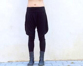 Black Yoga Pants, Black Harem Pants, Drop Crotch Pants, Loose Pants