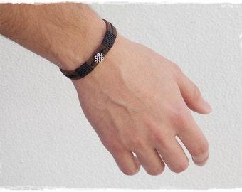 Leather Men's Bracelet, Leather Bracelet, Shrivatsa Leather Bracelet, Infinity Knot Bracelet, Celtic Leather Cuff, Nordic Gaelic Bracelet