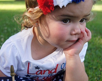 4th of July headband - July 4th headband - Patriotic headband - red white and blue headband