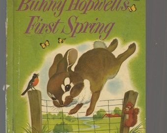 VINTAGE WONDER BOOK, Bunny Hopwell's First Spring, 1954 Vintage Children's Hardcover Book, Glossy Cover, Cute Illustrations, Sound Condition
