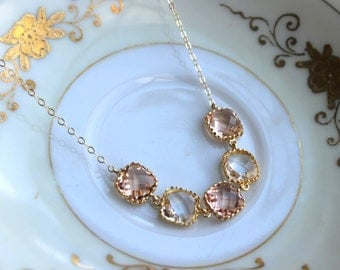 Crystal Clear Champagne Blush Necklace Gold Peach Necklace - Bridesmaid Gift Bridal Necklace Pink Crystal Wedding Jewelry Bridesmaid Jewelry