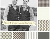 Men's grey cream ivory bowties - gingham chevron polka dots stripe wedding Riley Blake le creme groomsmen ring bearer gray men bow ties