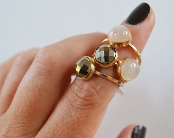 Pyrite Disco Ring - Sparkly Fools Gold Ring, Gold Filled Ring, Gold Gemstone Ring, Bezel Ring