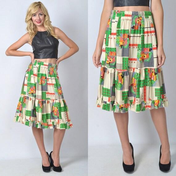 Vintage 80s White + Green Retro Skirt Geometric Print house Home full S M L 1083