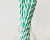 Teal Turquoise Straws Seafoam Mint Green Party Supplies Birthday Party Colorful Paper Straws Girls Party Decor Bright Turquoise / Set of 20