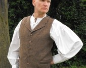 "Legendary Steampunk Brown Tweed Collared Waistcoat / Vest - Men's 36, 38, 40, 42, 44, 46 or 48"" Chest"