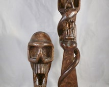 Handcrafted Wooden Statues Two Vintage Handmade Carved Wood Skull Figures Unusual Folk Art 11.5 and 7 inches Steampunk Art DanPickedMinerals
